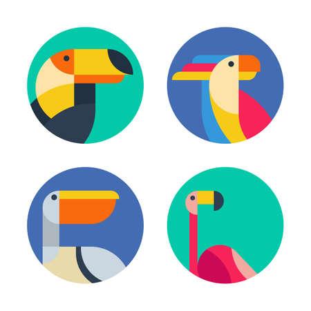 Conjunto de vector de la insignia, insignias, etiquetas con las aves exóticas. La ilustración colorida plana de tucán, loro cacatúa, flamenco y el pelícano. De moda iconos de círculo, emblemas y elementos de diseño.