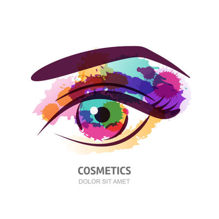 Vector watercolor illustration of the eye with colorful pupil. Abstract logo design element. Watercolor eye background. Design concept for contact lens, optical shop, makeup, visage and cosmetics.