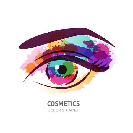 Vector aquarel illustratie van het oog met kleurrijke pupil. Abstracte logo design element. Waterverf het oog achtergrond. Ontwerp concept voor contactlenzen, optische winkel, make-up, gezicht en cosmetica. Stock Illustratie