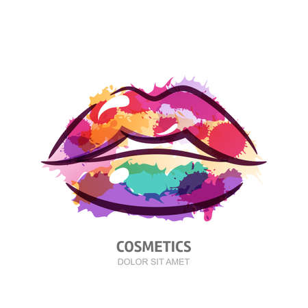 Vector watercolor illustration of colorful womens lips. Abstract logo design. Watercolor background. Concept for beauty salon, cosmetics label, cosmetology procedures, visage and makeup stylist. Vettoriali