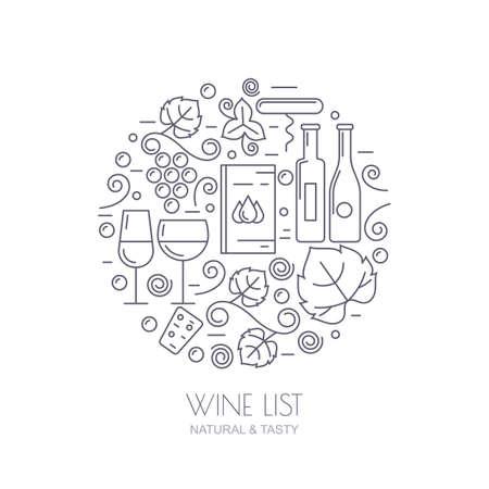 winery: Vector outline logo set and design elements. Wine bottle, glass, grape vine, leaf icons. Food and drink background. Trendy concept for wine list, bar or restaurant menu, natural alcohol drinks. Illustration
