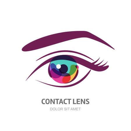 lentes de contacto: Ilustración del vector con la pupila del ojo colorido. Resumen logotipo elemento de diseño. Concepto de diseño de lentes de contacto, óptica, una tienda de gafas, oculista, oftalmología, maquillaje, rostro y cosméticos. Vectores