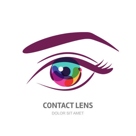 Vector eye illustration with colorful pupil. Abstract logo design element. Design concept for contact lens, optical, glasses shop, oculist, ophthalmology, makeup, visage and cosmetics.