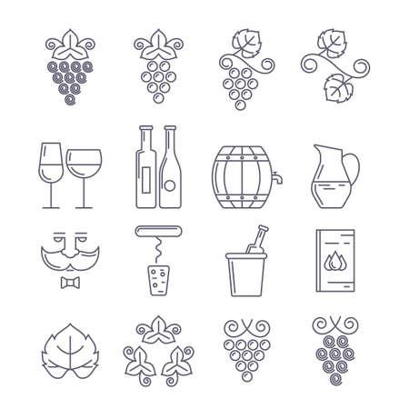 vine: Vector outline icons set, logo and design elements. Wine bottle, glass, grape vine and leaf, food and drink line illustration. Concept for wine list, bar or restaurant menu, natural alcohol drinks.