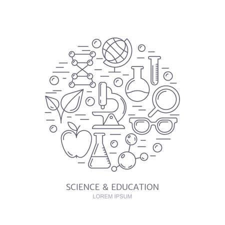 industria quimica: iconos del vector esquema establecen, logotipo y elementos de diseño. De investigación, tecnologías e innovación símbolos. Fondo de la ciencia. Antecedentes educacionales. concepto de moda para los temas de la industria médica, química.