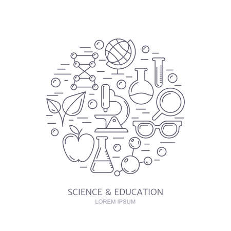 chemically: Vector outline icons set, logo and design elements. Research, technologies and innovation symbols. Science background. Education background. Trendy concept for medical, chemical industry themes. Illustration