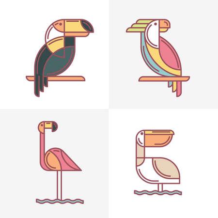 flamenco ave: Conjunto de vector exóticos pájaros tropicales iconos de logotipo. Colorida ilustración aves de la línea de tucán, loro cacatúa, flamenco y el pelícano. elementos de diseño aislados sobre fondo blanco. Vectores