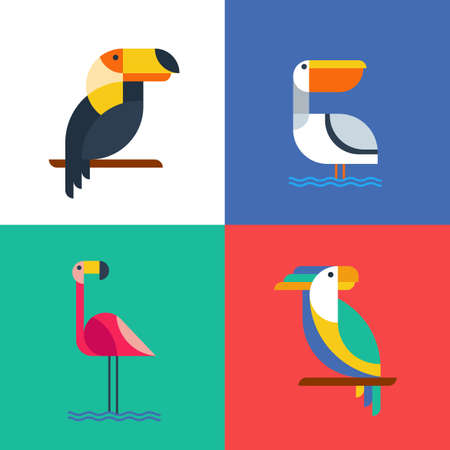 Exotic tropical birds flat style logo icons. Set of vector colorful birds illustration of toucan, cockatoo parrot, flamingo and pelican. Isolated design elements and backgrounds. Vettoriali
