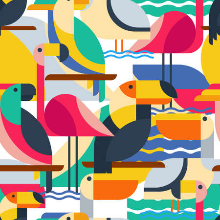 Seamless pattern with tropical birds. Vector flat background with toucan, cockatoo parrot, flamingo and pelican. Design concept for fabric design, textile print, wrapping paper or web backgrounds.
