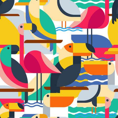 mosca caricatura: Patrón sin fisuras con las aves tropicales. Vector de fondo plano con tucán, loro cacatúa, flamenco y pelícano. Concepto de diseño para el diseño de la tela, impresión textil, papel de regalo o web fondos.