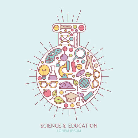 chemically: Science, research and education concept. Set of vector outline icons and design elements for medical, chemical industry, technologies and innovation themes. Laboratory background.