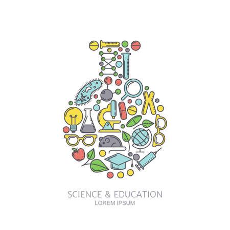 experimento: Vector de laboratorio de fondo. Iconos Línea establecidos y elementos de diseño. Concepto para la medicina, la industria química, tecnologías y temas de innovación. Ilustración para la ciencia, la investigación o la educación tema. Vectores