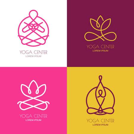 flor de loto: contorno de yoga elementos de dise�o de logotipo. Conjunto de iconos de vector de yoga e insignias. silueta abstracta de la mujer en posici�n de loto. Lineal s�mbolo de la flor de loto. Concepto para el estudio de yoga, sal�n de belleza, spa, cosm�ticos. Vectores