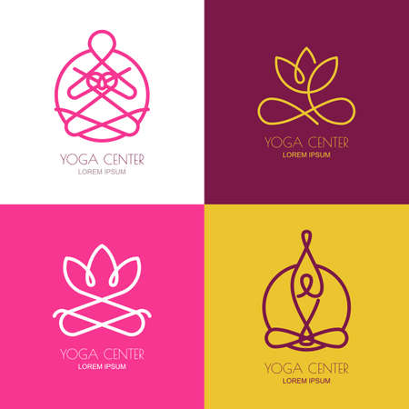 Yoga outline logo design elements. Set of vector yoga icons and badges. Abstract woman silhouette in lotus position. Linear lotus flower symbol. Concept for yoga studio, beauty salon, spa, cosmetics.