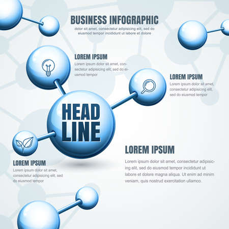 vector  molecular: Business infographic template. Abstract vector molecular structure background. Concept for science, medical, biotechnology, chemical industry themes. Design for banner, brochure, presentation, flyer.