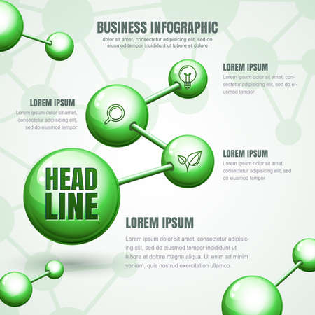 vector  molecular: Business infographic template. Vector green molecular structure background. Concept for science, ecology, biotechnology, chemical industry themes. Design for banner, brochure, presentation, flyer.