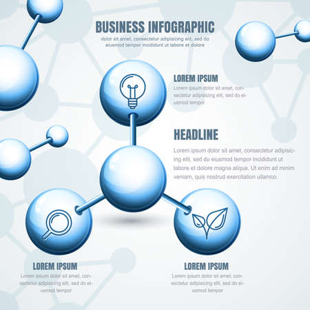 vector  molecular: Business infographic template. Vector blue molecular structure background. Concept for science, ecology, biotechnology, chemical industry themes. Design for banner, brochure, presentation, flyer.