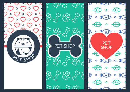 shop for animals: Set of vector outline seamless patterns, labels, and design elements. Background, flyer or banner template for pet shop or veterinary. Linear illustration of cat and dog muzzle. Goods for animals.