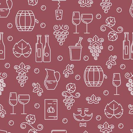 sommelier: Vector seamless pattern with outline wine bottle, glass, grape vine. Food and drink linear illustration. Design for wine list, bar or restaurant menu, alcohol drinks. Abstract pink background. Illustration
