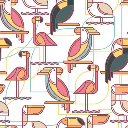 Naadloos patroon met tropische vogels.