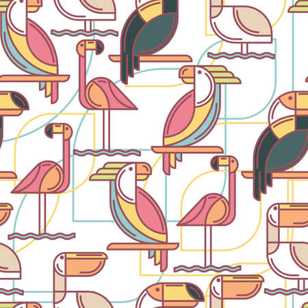 tucan: Seamless pattern with tropical birds.  Illustration