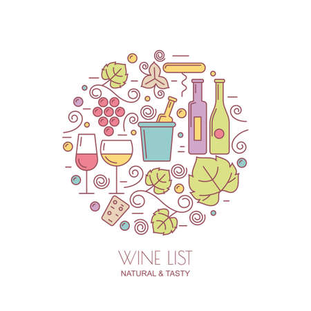wine and food: Vector set of design elements