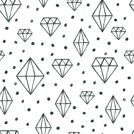Vector naadloze patroon met de hand getekende aquarel diamant kristallen. Zwarte en witte achtergrond. Ontwerp concept voor stof ontwerp, textiel print, inpakpapier of web achtergronden.