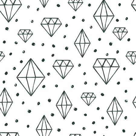 diamante negro: Vector patrón transparente con cristales de diamante de la acuarela dibujado a mano. fondo blanco y negro. Concepto de diseño para el diseño de la tela, impresión textil, papel de regalo o fondos web.