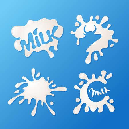 Vector latte macchia icone, logo ed elementi di scenografia. Estratto tonfo del latte di mucca con silhouette su sfondo blu. lettere disegnato a mano. Concetto per cibo fattoria fresco, latticini naturali etichette dei prodotti.