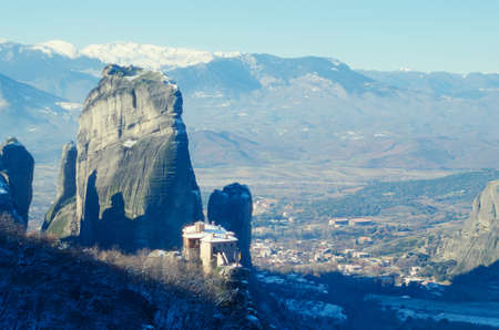 monasteri: Beautiful Meteora mountains landscape. Nature of Greece. Meteora monasteries in winter.