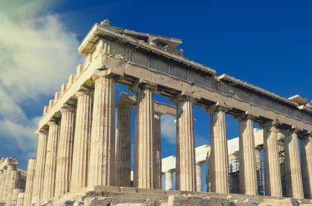 greek temple: Ancient Parthenon, Greek temple on the Acropolis. Vintage color tone background. Athens, Greece. Stock Photo