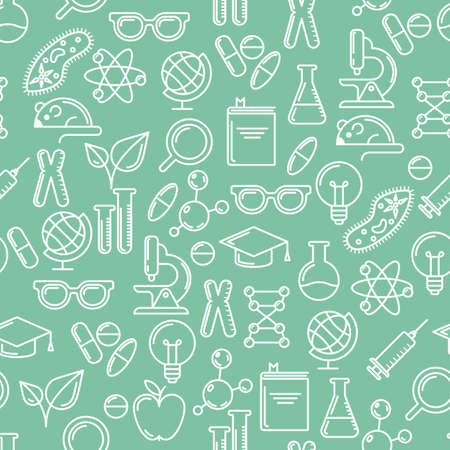 chemically: Vector line art seamless pattern with science and education symbols and design elements. Research, technologies and innovation concept. Modern design for medical, chemical industry themes. Illustration