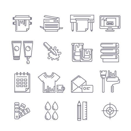 Icone vettore schema di stampa impostati. Stampante, plotter, vernici e carta, cancelleria e illustrazione linea corporate identity. Concetto per Copy-center, servizio di stampa, progettazione editoriale.