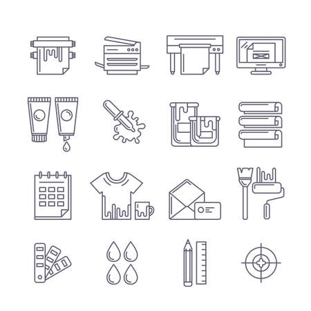 plotter: Vector outline printing icons set. Printer, plotter, paints and paper, stationery and corporate identity line illustration. Concept for copy center, printing service, publishing design. Illustration
