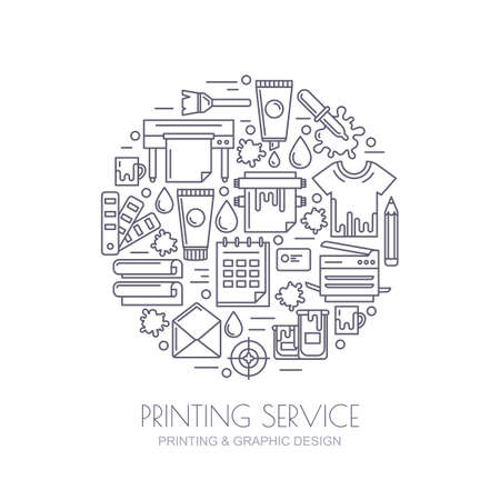 Vector outline icons set, logo and design elements. Concept for copy center, printing service, publishing design. Printer, paints, paper, corporate identity line illustration. Abstract background.