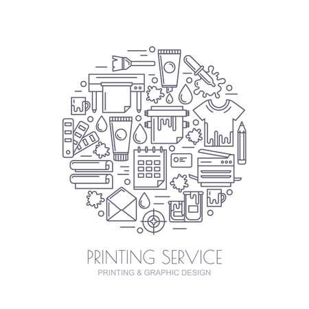 imprenta: iconos del vector esquema establecen, logotipo y elementos de diseño. Concepto para el centro de copiado, servicio de impresión, diseño editorial. Impresora, pinturas, papel, identidad corporativa ilustración línea. Fondo abstracto.