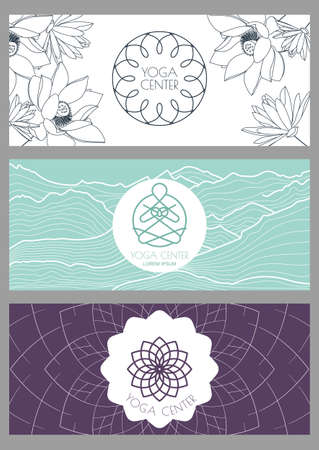 Set of vector backgrounds, flyers, banners template for for yoga studio or beauty salon, spa, cosmetics. Linear illustration of person, mountains and lotus flower. Illustration