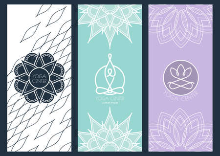 lotus position: Set of vector abstract backgrounds, flyers, banners template for for yoga studio or beauty salon, spa, cosmetics. Linear illustration of person and lotus flower symbol. Mandala ornament background.