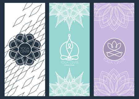 schönheit: Set von Vektor-abstrakt, Flyer, Banner-Vorlage für für Yoga-Studio oder im Schönheitssalon, Spa, Kosmetik. Lineare Darstellung der Person und Lotusblumensymbol. Mandala Ornament Hintergrund.