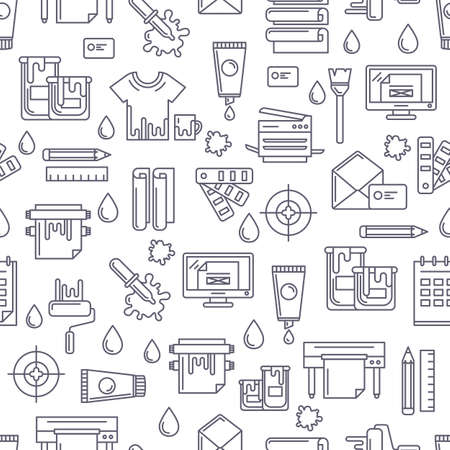 printing proof: Vector seamless pattern with linear printing symbols and icons. Abstract black and white background. Design concept for copy center, printing service, publishing design.