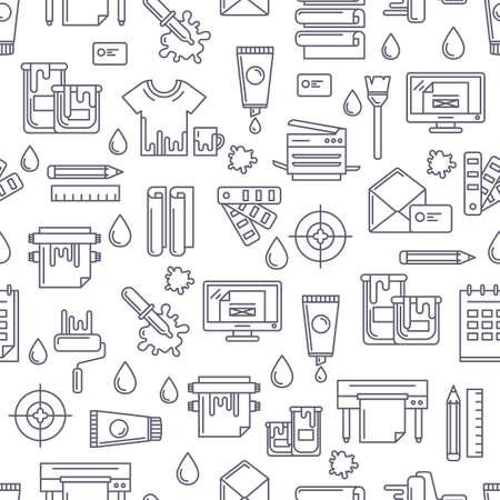 imprenta: vector sin patrón con la impresión de símbolos e iconos lineales. Resumen negro y fondo blanco. Concepto de diseño para el centro de copiado, servicio de impresión, diseño editorial.