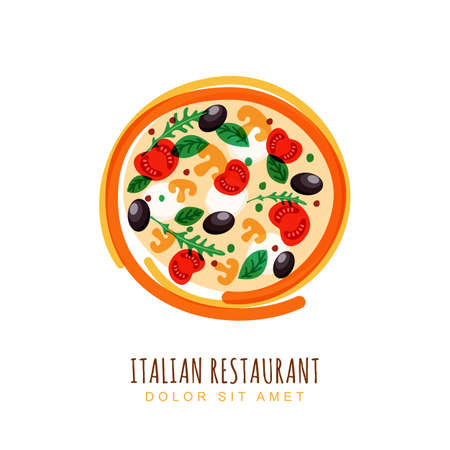 mozzarella cheese: doodle illustration of italian pizza with tomato, mushrooms, olives and mozzarella. Abstract  design template. Trendy concept for, restaurant menu, cafe, fast food, pizzeria.