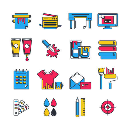 flat printing icons set in  colors. Printer, plotter, paints and paper, stationery and corporate identity line illustration. Concept for copy center, printing service, publishing design.
