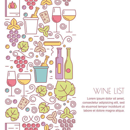 list: seamless vertical background with linear wine bottle, glass, leaf icons. Food and drink pattern. Design concept for wine list, bar or restaurant menu, natural alcohol drinks.