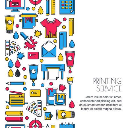 bezszwowe tło z pionowe płaskie ikony drukowania w kolorze. Drukarka, ploter, papier i materiały piśmienne farby ilustracji. Koncepcja centrum kopiowania, usługi drukowania, publikowania projektu.