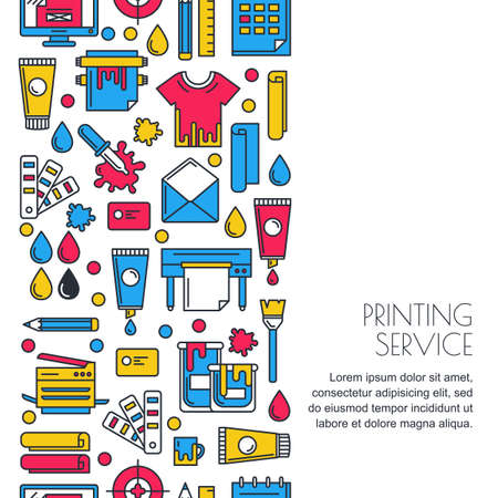 seamless vertical background with flat printing icons in  colors. Printer, plotter, paints paper and stationery illustration. Concept for copy center, printing service, publishing design. Çizim