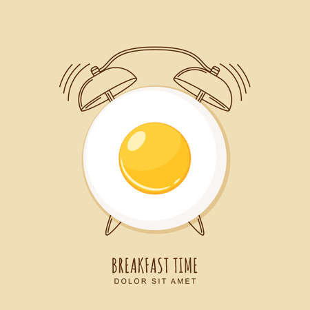 clock icon: Fried egg and outline alarm clock, illustration of breakfast. Concept for breakfast menu, cafe, restaurant.  design template. Food background.