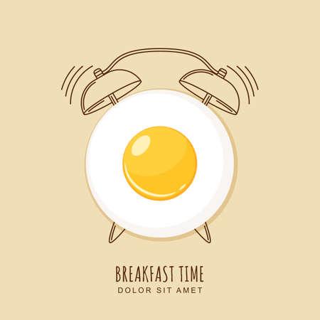 Spiegelei und Umriss Wecker, Abbildung des Frühstücks. Konzept für das Frühstück Menü, Café, Restaurant. Design-Vorlage. Essen Hintergrund.