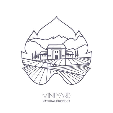 tuscany landscape: Tuscany landscape with vineyard fields, villa, mountains in grapes leaf shape. Outline illustration of rural landscape. Trendy concept for wine list, bar or restaurant menu, labels and package.