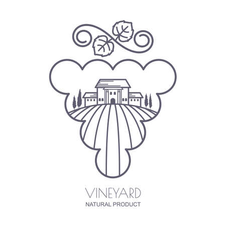 tuscan: Tuscany landscape with vineyard fields, villa, trees in grape berries shape. Outline illustration of rural landscape. Trendy concept for wine list, bar or restaurant menu, labels and package.